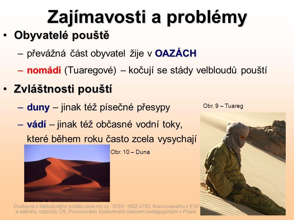 Zajímavosti a problémy Obyvatelé pouštěObyvatelé pouště OAZÁCH –převážná část obyvatel žije v OAZÁCH –nomádi –nomádi (Tuaregové) – kočují se stády vel
