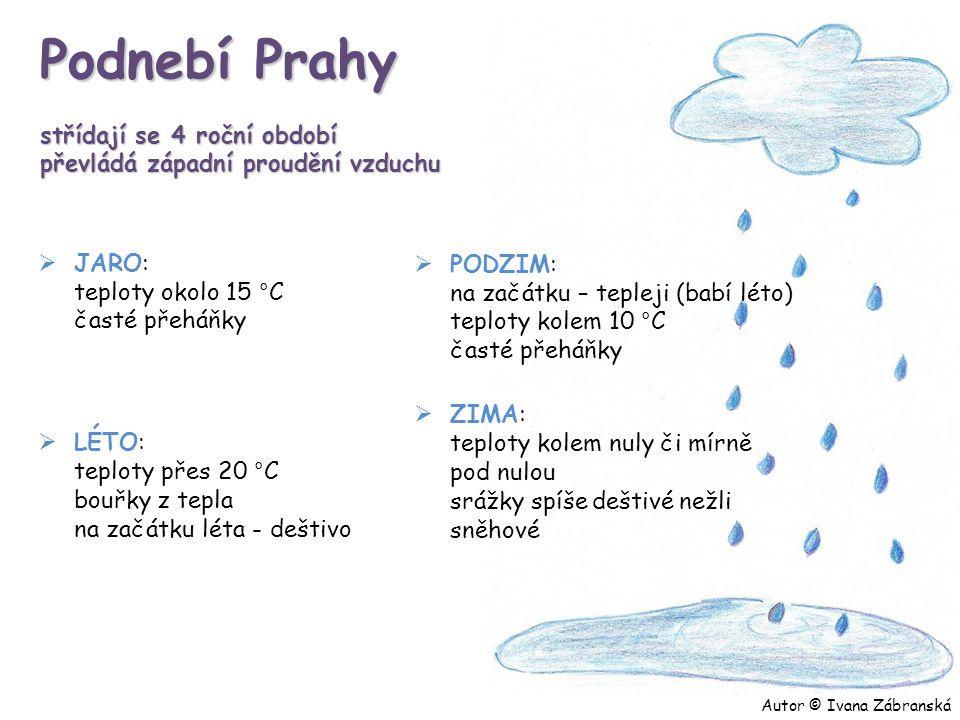 Podnebí Prahy střídají se 4 roční období převládá západní proudění vzduchu  JARO: teploty okolo 15 °C časté přeháňky  LÉTO: teploty přes 20 °C bouřk