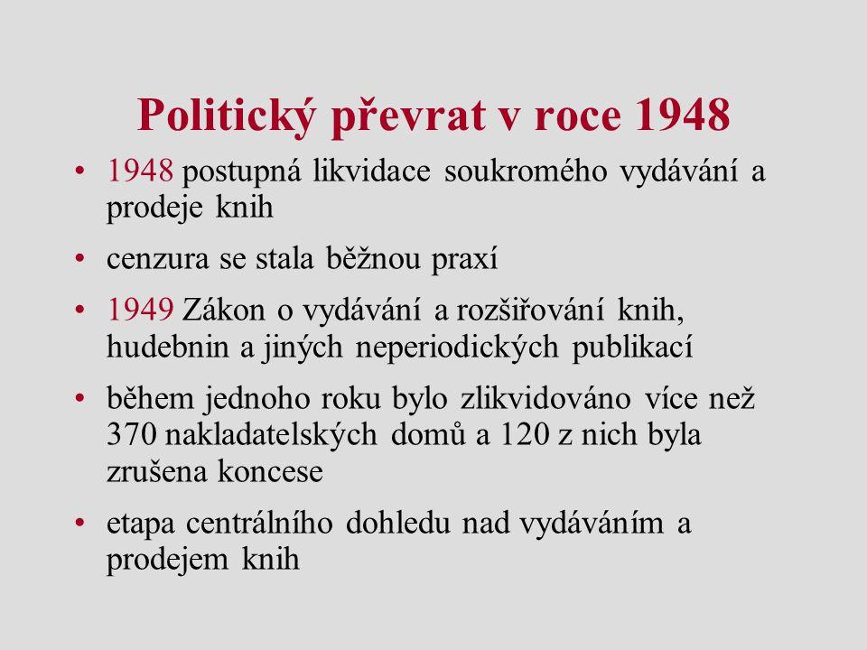 Politický převrat v roce 1948 1948 postupná likvidace soukromého vydávání a prodeje knih cenzura se stala běžnou praxí 1949 Zákon o vydávání a rozšiřo
