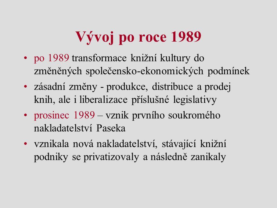 Vývoj po roce 1989 po 1989 transformace knižní kultury do změněných společensko-ekonomických podmínek zásadní změny - produkce, distribuce a prodej kn