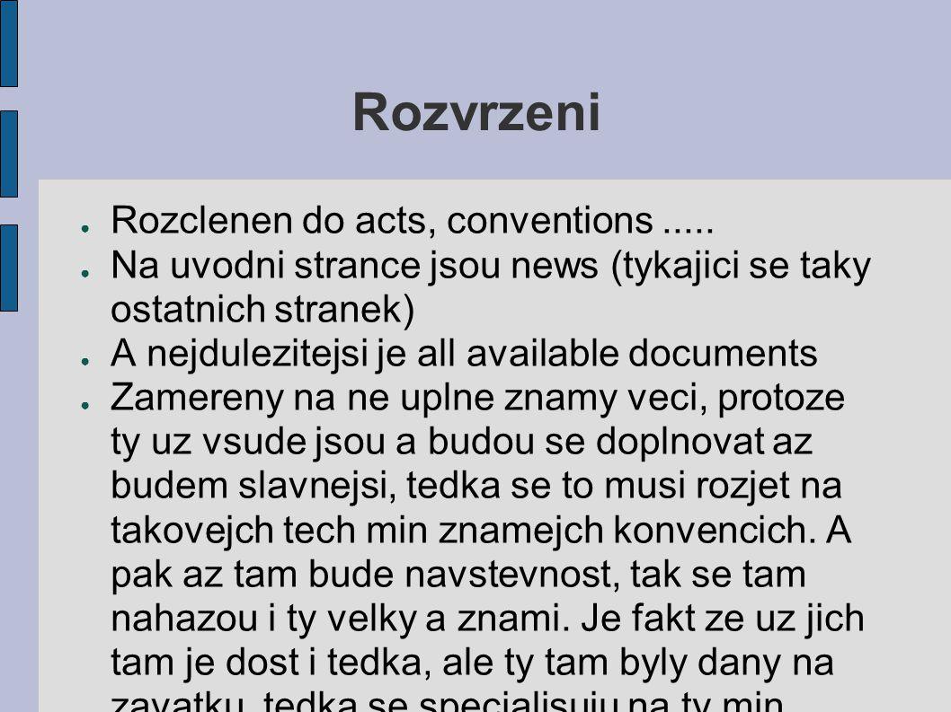 Rozvrzeni ● Rozclenen do acts, conventions.....