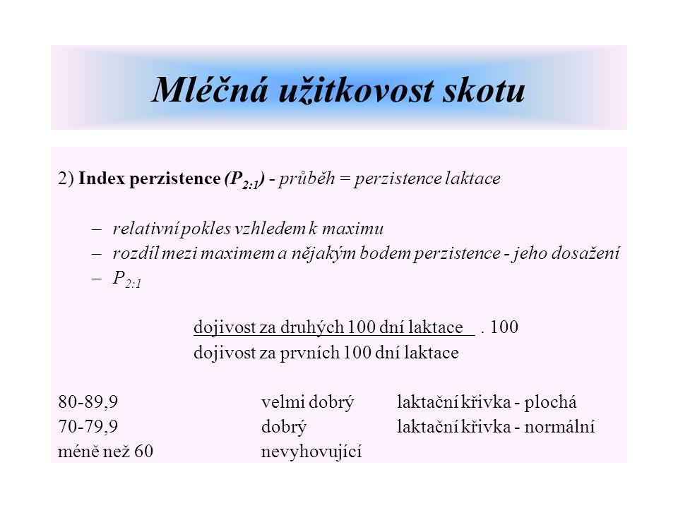 2) Index perzistence (P 2:1 ) - průběh = perzistence laktace –relativní pokles vzhledem k maximu –rozdíl mezi maximem a nějakým bodem perzistence - je