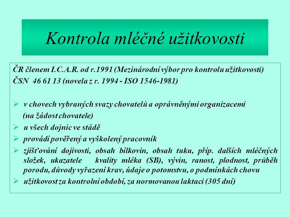 Kontrola mléčné užitkovosti ČR členem I.C.A.R. od r.1991 (Mezinárodní výbor pro kontrolu užitkovosti) ČSN 46 61 13 (novela z r. 1994 - ISO 1546-1981)