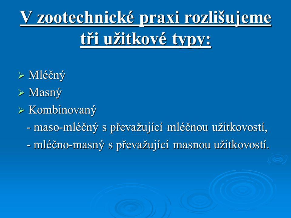 V zootechnické praxi rozlišujeme tři užitkové typy:  Mléčný  Masný  Kombinovaný - maso-mléčný s převažující mléčnou užitkovostí, - maso-mléčný s př