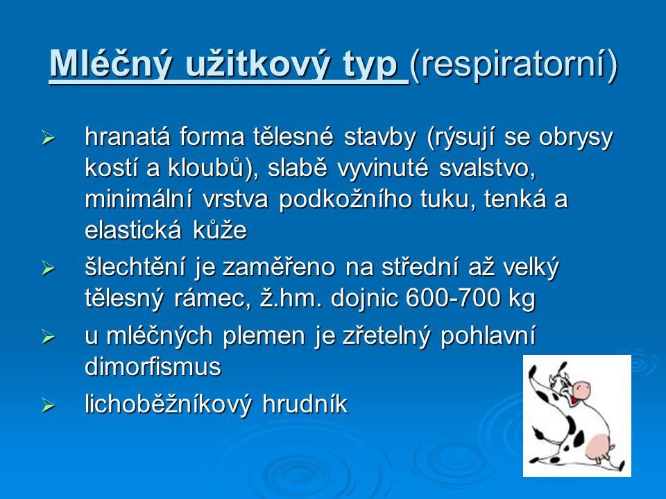 Mléčný užitkový typ (respiratorní)  hranatá forma tělesné stavby (rýsují se obrysy kostí a kloubů), slabě vyvinuté svalstvo, minimální vrstva podkožn