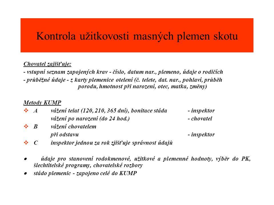 Chovatel zajišťuje: - vstupní seznam zapojených krav - číslo, datum nar., plemeno, údaje o rodičích - průběžné údaje - z karty plemenice otelení (č. t