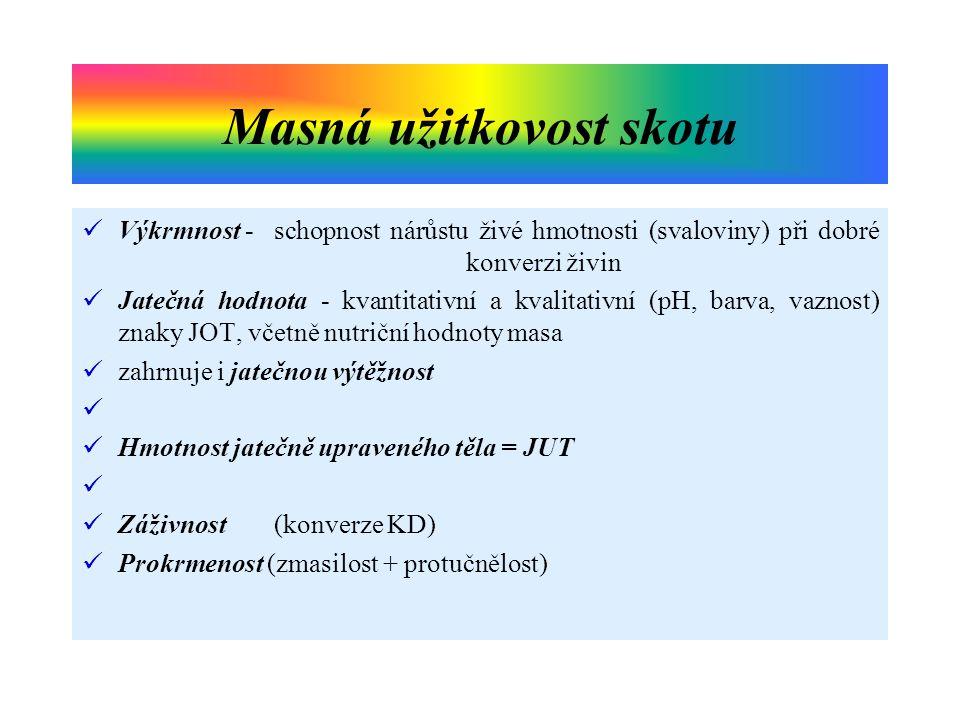 Výkrmnost - schopnost nárůstu živé hmotnosti (svaloviny) při dobré konverzi živin Jatečná hodnota - kvantitativní a kvalitativní (pH, barva, vaznost)