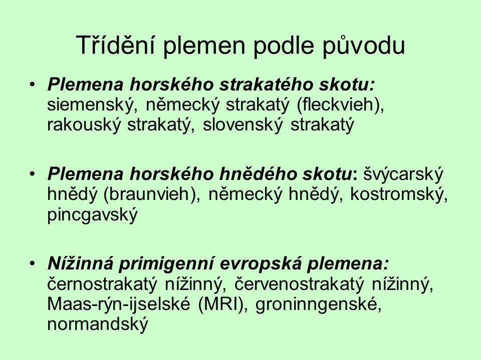 Třídění plemen podle původu Plemena horského strakatého skotu: siemenský, německý strakatý (fleckvieh), rakouský strakatý, slovenský strakatý Plemena