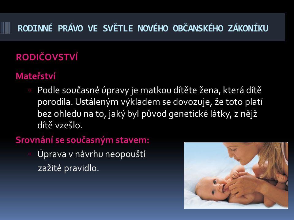 RODINNÉ PRÁVO VE SVĚTLE NOVÉHO OBČANSKÉHO ZÁKONÍKU RODIČOVSTVÍ Mateřství  Podle současné úpravy je matkou dítěte žena, která dítě porodila. Ustáleným