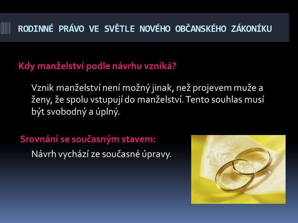 RODINNÉ PRÁVO VE SVĚTLE NOVÉHO OBČANSKÉHO ZÁKONÍKU Kdy manželství podle návrhu vzniká? Vznik manželství není možný jinak, než projevem muže a ženy, že