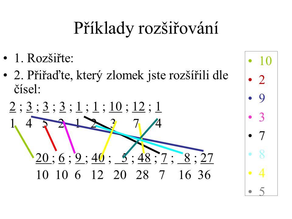 Příklady rozšiřování 10 2 9 3 7 8 4 5 1. Rozšiřte: 2. Přiřaďte, který zlomek jste rozšířili dle čísel: 2 ; 3 ; 3 ; 3 ; 1 ; 1 ; 10 ; 12 ; 1 1 4 5 2 1 2