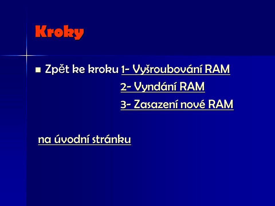 Kroky Zp ě t ke kroku 1- Vyšroubování RAM Zp ě t ke kroku 1- Vyšroubování RAM1- Vyšroubování RAM1- Vyšroubování RAM 2- Vyndání RAM 2- Vyndání RAM2- Vyndání RAM2- Vyndání RAM 3- Zasazení nové RAM 3- Zasazení nové RAM3- Zasazení nové RAM3- Zasazení nové RAM na úvodní stránku na úvodní stránkuna úvodní stránkuna úvodní stránku