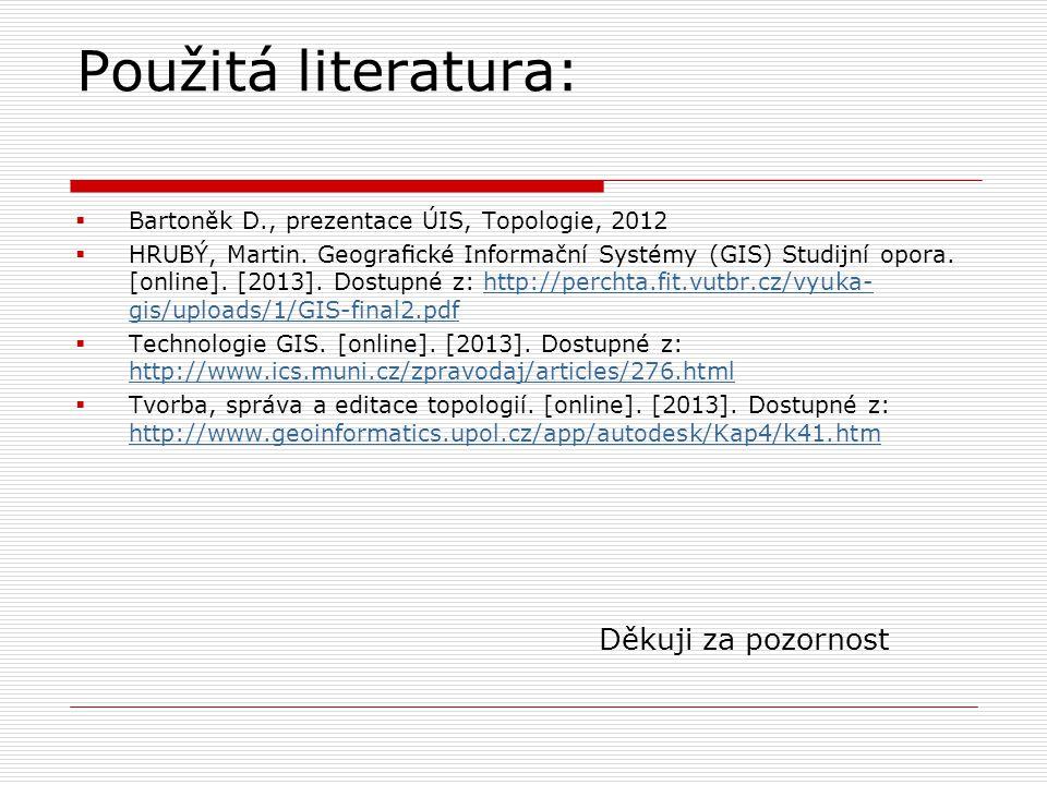 Použitá literatura:  Bartoněk D., prezentace ÚIS, Topologie, 2012  HRUBÝ, Martin. Geografické Informační Systémy (GIS) Studijní opora. [online]. [2013