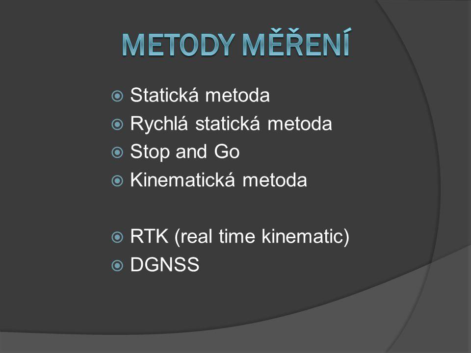  Statická metoda  Rychlá statická metoda  Stop and Go  Kinematická metoda  RTK (real time kinematic)  DGNSS