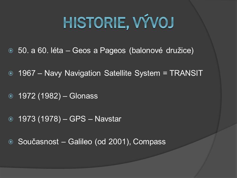 50. a 60. léta – Geos a Pageos (balonové družice)  1967 – Navy Navigation Satellite System = TRANSIT  1972 (1982) – Glonass  1973 (1978) – GPS –
