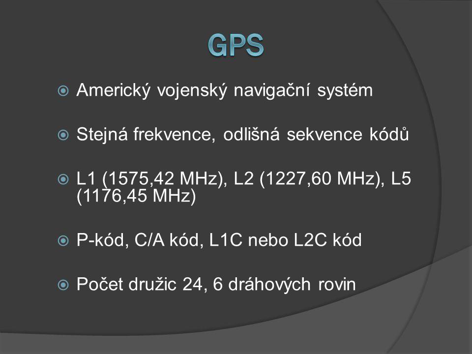  Americký vojenský navigační systém  Stejná frekvence, odlišná sekvence kódů  L1 (1575,42 MHz), L2 (1227,60 MHz), L5 (1176,45 MHz)  P-kód, C/A kód