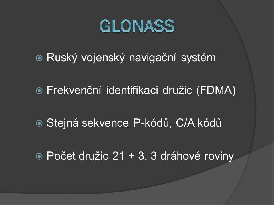  Ruský vojenský navigační systém  Frekvenční identifikaci družic (FDMA)  Stejná sekvence P-kódů, C/A kódů  Počet družic 21 + 3, 3 dráhové roviny