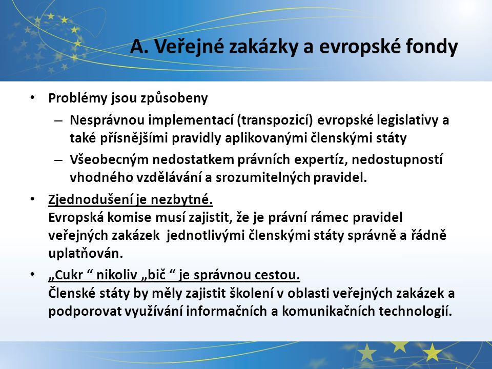 A. Veřejné zakázky a evropské fondy Problémy jsou způsobeny – Nesprávnou implementací (transpozicí) evropské legislativy a také přísnějšími pravidly a