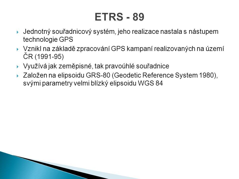  Jednotný souřadnicový systém, jeho realizace nastala s nástupem technologie GPS  Vznikl na základě zpracování GPS kampaní realizovaných na území ČR