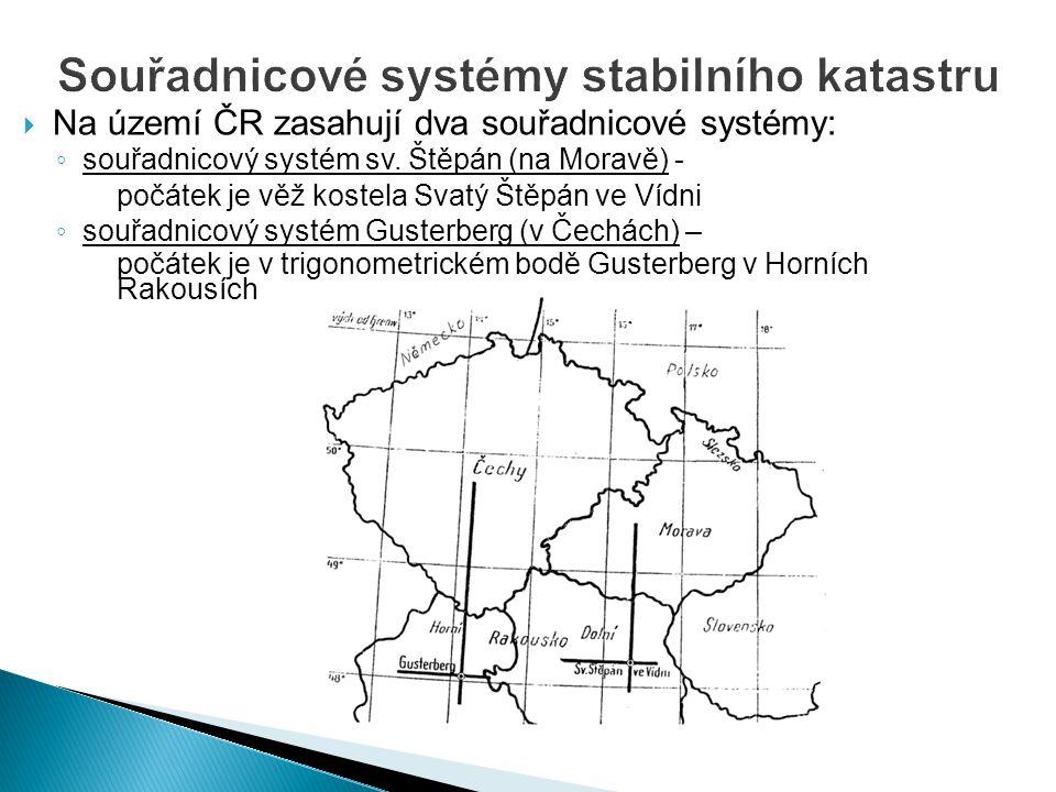  Na území ČR zasahují dva souřadnicové systémy: ◦ souřadnicový systém sv. Štěpán (na Moravě) - počátek je věž kostela Svatý Štěpán ve Vídni ◦ souřadn