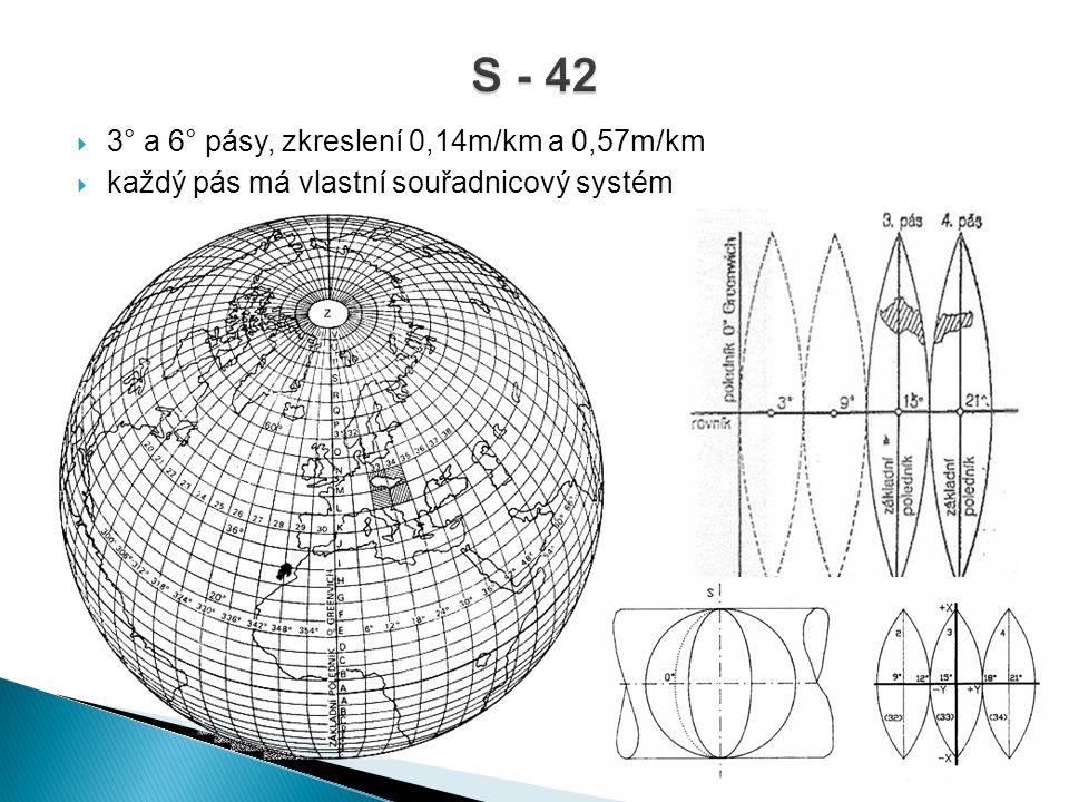  3° a 6° pásy, zkreslení 0,14m/km a 0,57m/km  každý pás má vlastní souřadnicový systém