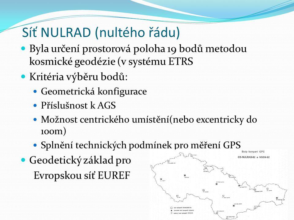Síť NULRAD (nultého řádu) Byla určení prostorová poloha 19 bodů metodou kosmické geodézie (v systému ETRS Kritéria výběru bodů: Geometrická konfigurace Příslušnost k AGS Možnost centrického umístění(nebo excentricky do 100m) Splnění technických podmínek pro měření GPS Geodetický základ pro Evropskou síť EUREF