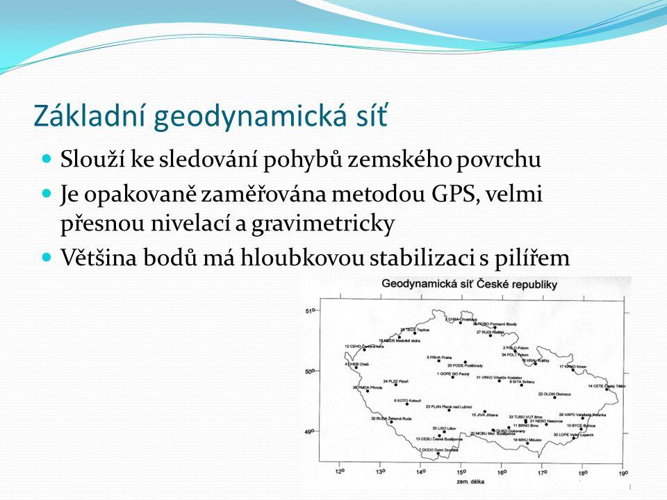 Základní geodynamická síť Slouží ke sledování pohybů zemského povrchu Je opakovaně zaměřována metodou GPS, velmi přesnou nivelací a gravimetricky Většina bodů má hloubkovou stabilizaci s pilířem