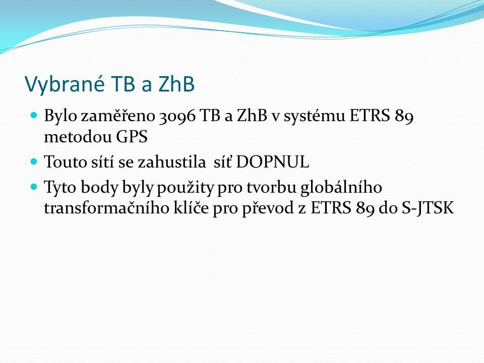 Vybrané TB a ZhB Bylo zaměřeno 3096 TB a ZhB v systému ETRS 89 metodou GPS Touto sítí se zahustila síť DOPNUL Tyto body byly použity pro tvorbu globálního transformačního klíče pro převod z ETRS 89 do S-JTSK