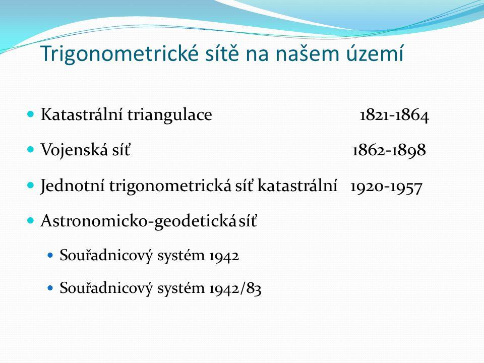 Trigonometrické sítě na našem území Katastrální triangulace 1821-1864 Vojenská síť 1862-1898 Jednotní trigonometrická síť katastrální 1920-1957 Astronomicko-geodetická síť Souřadnicový systém 1942 Souřadnicový systém 1942/83