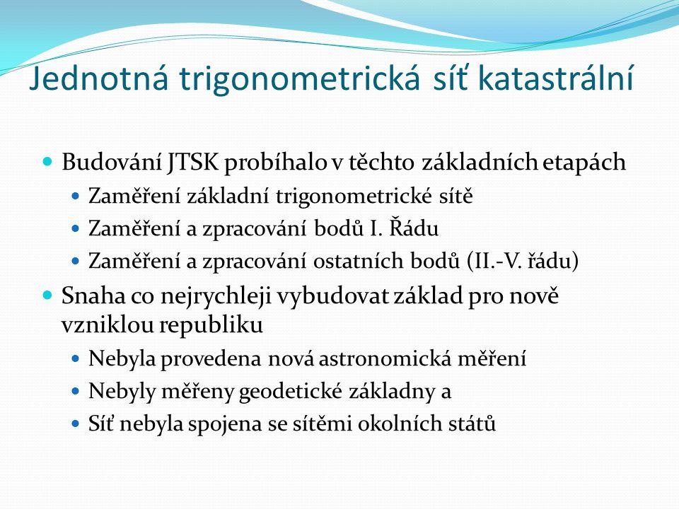 Jednotná trigonometrická síť katastrální Budování JTSK probíhalo v těchto základních etapách Zaměření základní trigonometrické sítě Zaměření a zpracování bodů I.