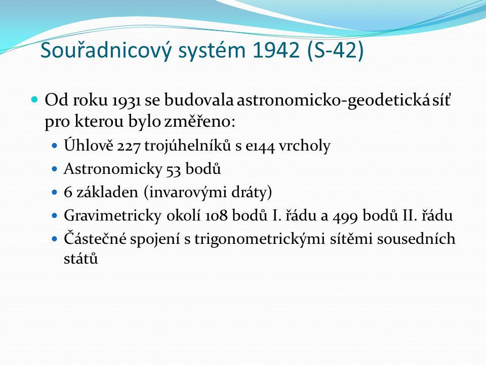 Souřadnicový systém 1942 (S-42) Od roku 1931 se budovala astronomicko-geodetická síť pro kterou bylo změřeno: Úhlově 227 trojúhelníků s e144 vrcholy Astronomicky 53 bodů 6 základen (invarovými dráty) Gravimetricky okolí 108 bodů I.