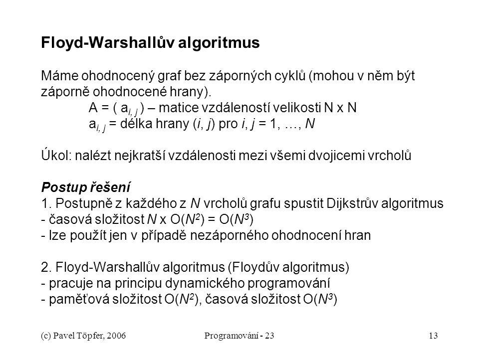 (c) Pavel Töpfer, 2006Programování - 2313 Floyd-Warshallův algoritmus Máme ohodnocený graf bez záporných cyklů (mohou v něm být záporně ohodnocené hrany).