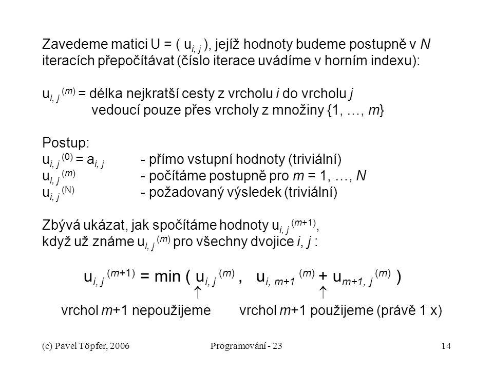 (c) Pavel Töpfer, 2006Programování - 2314 Zavedeme matici U = ( u i, j ), jejíž hodnoty budeme postupně v N iteracích přepočítávat (číslo iterace uvádíme v horním indexu): u i, j (m) = délka nejkratší cesty z vrcholu i do vrcholu j vedoucí pouze přes vrcholy z množiny {1, …, m} Postup: u i, j (0) = a i, j - přímo vstupní hodnoty (triviální) u i, j (m) - počítáme postupně pro m = 1, …, N u i, j (N) - požadovaný výsledek (triviální) Zbývá ukázat, jak spočítáme hodnoty u i, j (m+1), když už známe u i, j (m) pro všechny dvojice i, j : u i, j (m+1) = min ( u i, j (m), u i, m+1 (m) + u m+1, j (m) )   vrchol m+1 nepoužijemevrchol m+1 použijeme (právě 1 x)