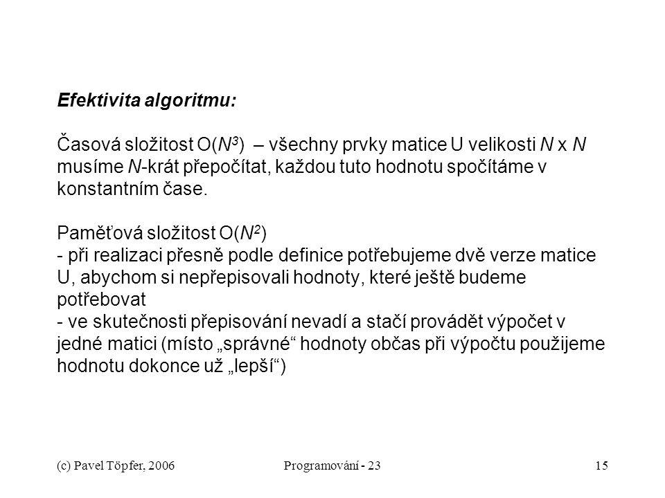 (c) Pavel Töpfer, 2006Programování - 2315 Efektivita algoritmu: Časová složitost O(N 3 ) – všechny prvky matice U velikosti N x N musíme N-krát přepočítat, každou tuto hodnotu spočítáme v konstantním čase.