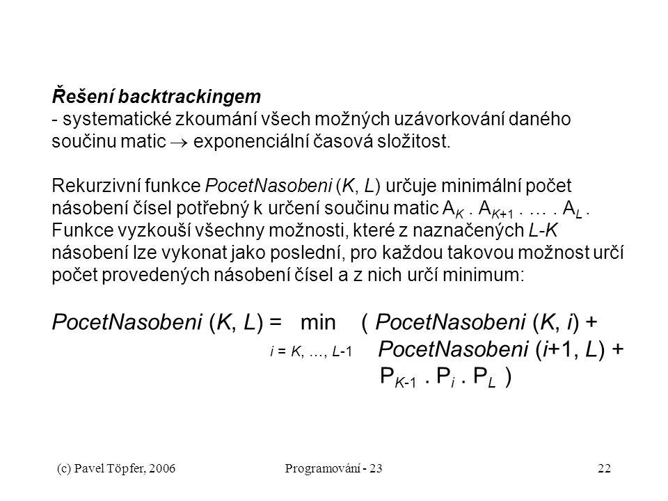 (c) Pavel Töpfer, 2006Programování - 2322 Řešení backtrackingem - systematické zkoumání všech možných uzávorkování daného součinu matic  exponenciáln