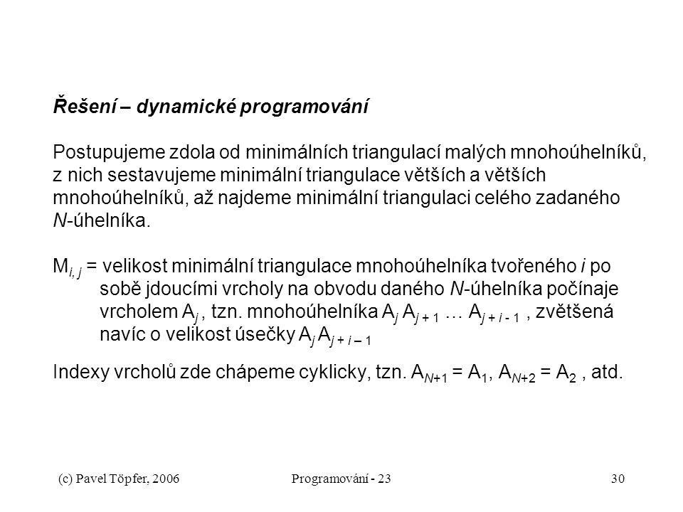 (c) Pavel Töpfer, 2006Programování - 2330 Řešení – dynamické programování Postupujeme zdola od minimálních triangulací malých mnohoúhelníků, z nich sestavujeme minimální triangulace větších a větších mnohoúhelníků, až najdeme minimální triangulaci celého zadaného N-úhelníka.