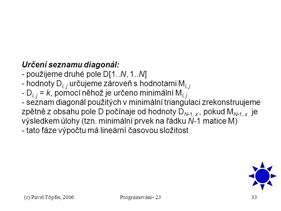 (c) Pavel Töpfer, 2006Programování - 2333 Určení seznamu diagonál: - použijeme druhé pole D[1..N, 1..N] - hodnoty D i, j určujeme zároveň s hodnotami