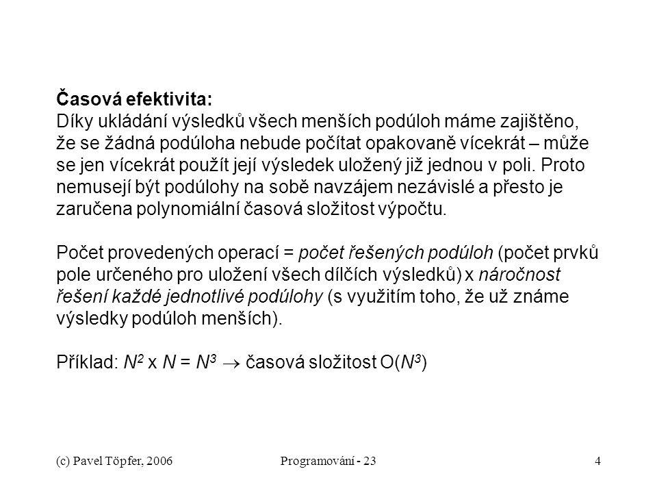 (c) Pavel Töpfer, 2006Programování - 234 Časová efektivita: Díky ukládání výsledků všech menších podúloh máme zajištěno, že se žádná podúloha nebude počítat opakovaně vícekrát – může se jen vícekrát použít její výsledek uložený již jednou v poli.
