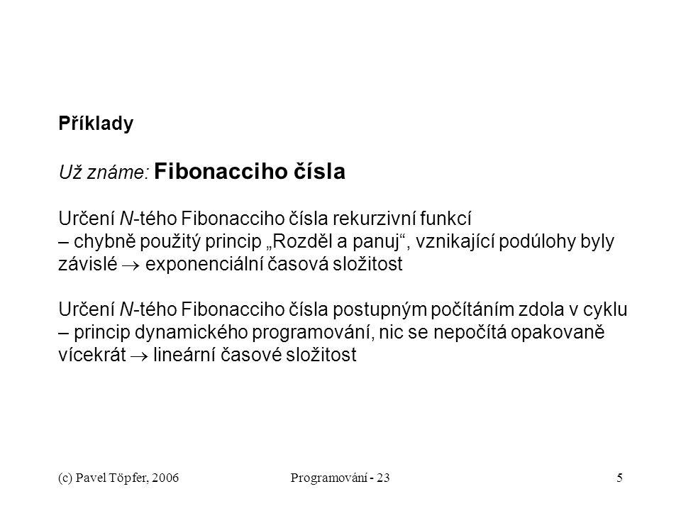 (c) Pavel Töpfer, 2006Programování - 235 Příklady Už známe: Fibonacciho čísla Určení N-tého Fibonacciho čísla rekurzivní funkcí – chybně použitý princ