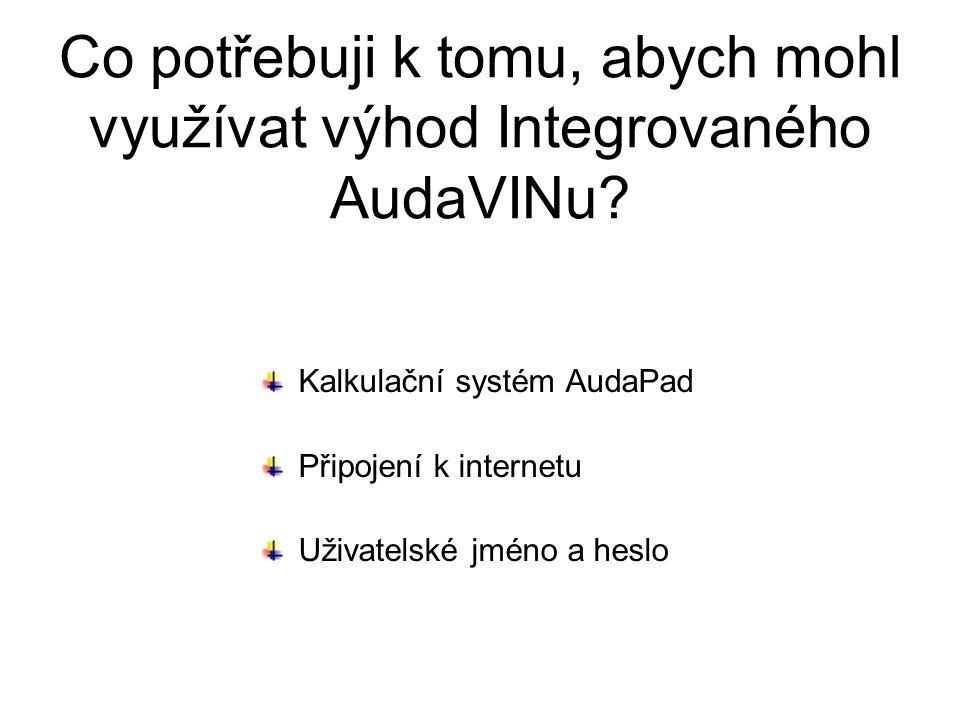 Co potřebuji k tomu, abych mohl využívat výhod Integrovaného AudaVINu? Kalkulační systém AudaPad Připojení k internetu Uživatelské jméno a heslo