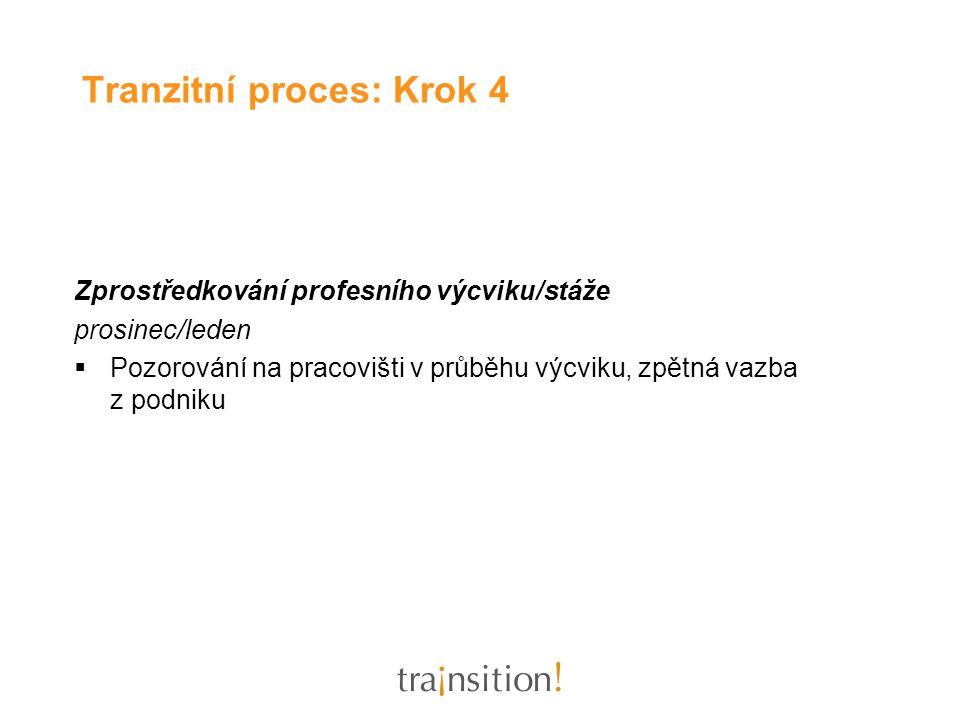 Zprostředkování profesního výcviku/stáže prosinec/leden  Pozorování na pracovišti v průběhu výcviku, zpětná vazba z podniku Tranzitní proces: Krok 4