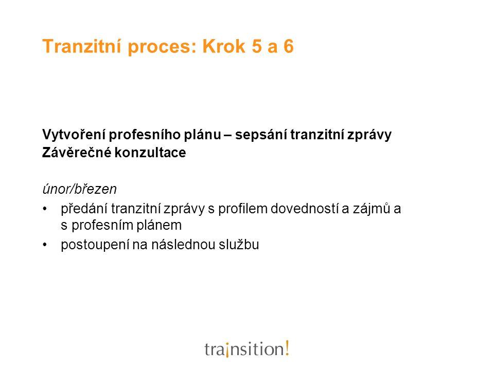 Vytvoření profesního plánu – sepsání tranzitní zprávy Závěrečné konzultace únor/březen předání tranzitní zprávy s profilem dovedností a zájmů a s prof