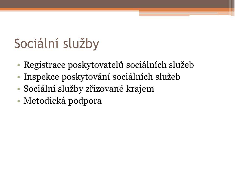 Sociální služby Registrace poskytovatelů sociálních služeb Inspekce poskytování sociálních služeb Sociální služby zřizované krajem Metodická podpora
