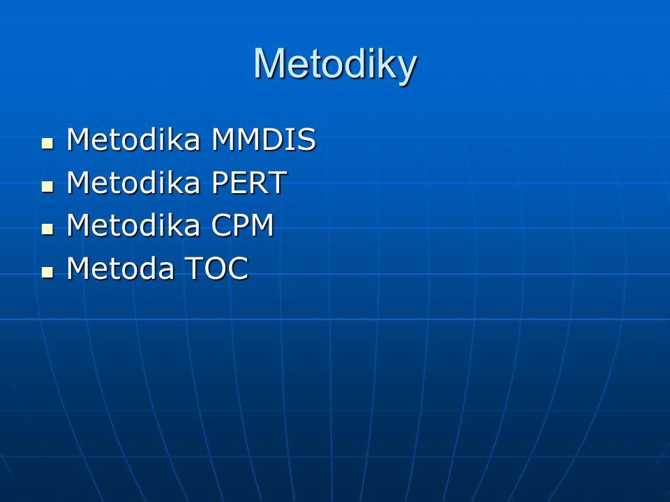 Metodiky Metodika MMDIS Metodika MMDIS Metodika PERT Metodika PERT Metodika CPM Metodika CPM Metoda TOC Metoda TOC