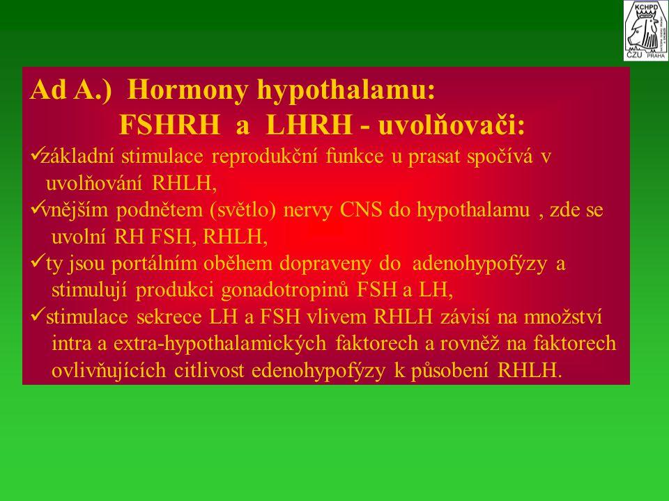 Ad A.) Hormony hypothalamu: FSHRH a LHRH - uvolňovači: základní stimulace reprodukční funkce u prasat spočívá v uvolňování RHLH, vnějším podnětem (svě