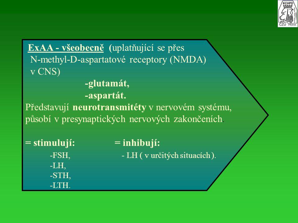 ExAA - všeobecně (uplatňující se přes N-methyl-D-aspartatové receptory (NMDA) v CNS) -glutamát, -aspartát. Představují neurotransmitéty v nervovém sys