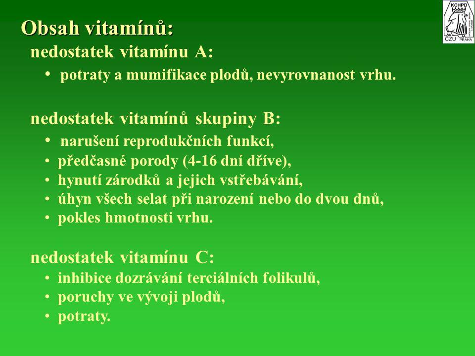 Obsah vitamínů: nedostatek vitamínu A: potraty a mumifikace plodů, nevyrovnanost vrhu. nedostatek vitamínů skupiny B: narušení reprodukčních funkcí, p
