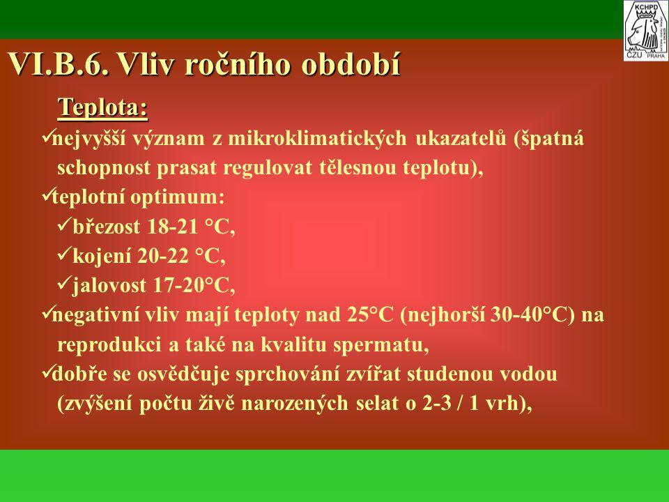 VI.B.6. Vliv ročního období Teplota: Teplota: nejvyšší význam z mikroklimatických ukazatelů (špatná schopnost prasat regulovat tělesnou teplotu), tepl