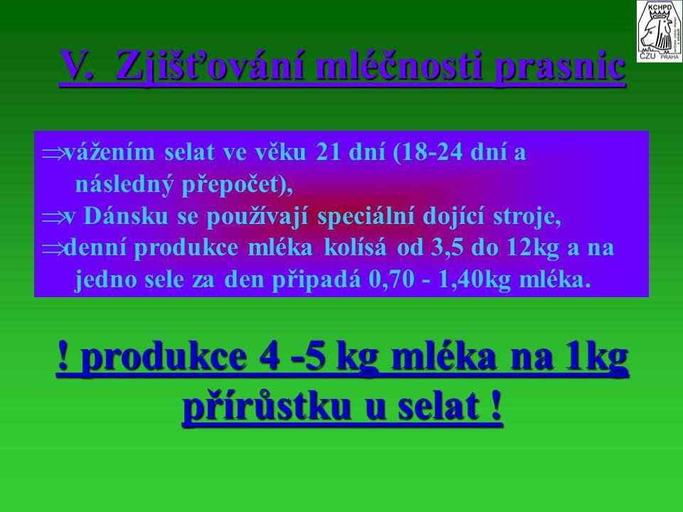 V. Zjišťování mléčnosti prasnic   vážením selat ve věku 21 dní (18-24 dní a následný přepočet),   v Dánsku se používají speciální dojící stroje, 