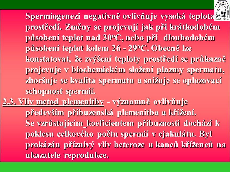 Spermiogenezi negativně ovlivňuje vysoká teplota prostředí. Změny se projevují jak při krátkodobém působení teplot nad 30 o C, nebo při dlouhodobém pů
